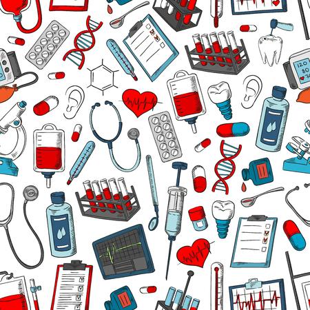 의료 도구 및 의학 패턴입니다. 의학, 의사, 환 약, 마약, 폐, 현미경, 심장, 혈액 및 DNA, x- 선, 연 고 드롭퍼, 폐, 심장 장기 및 방울, 주사기 및 온도계,  일러스트