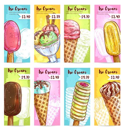 Eis Preis Banner. Preisschilder für Desserts. Vector Skizze Eis Sortiment von Kugeln in der Glasschüssel, Vanille eskimo, glasierte Schokolade Eisbecher, Wafer-Kegel, gefrorenes Obst Eis