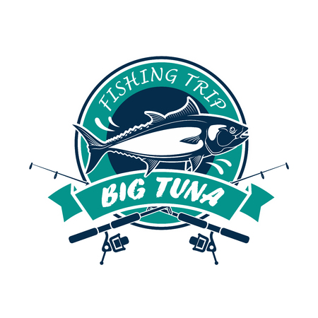round rods: Fishing trip round icon. Big tuna vector sign with fishing rods, fish, ribbon. Fisherman adventure sport club circle badge