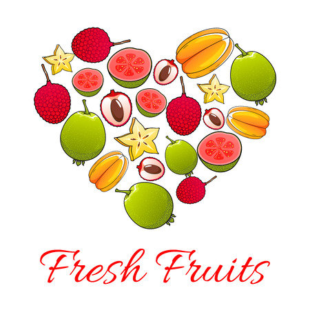Fresh fruits poster. Vector heart of tropical exotic juicy papaya, mango, carambola, feijoa, passion fruit maracuya, dragon fruit, lychee, durian, guava, fig, mangosteen