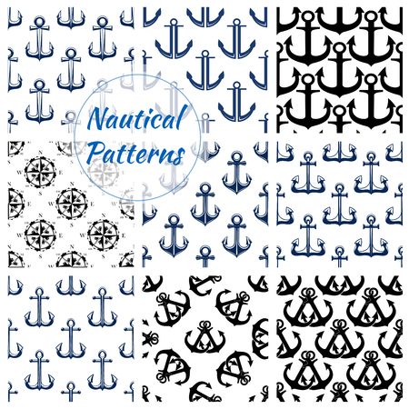 Nautical patterns set. Vector seamless background of blue anchor, ship helm, compass and wind rose. Tiles design of marine and ship heraldic navy symbols, sailor and vessel maritime, naval equipment items. Vetores
