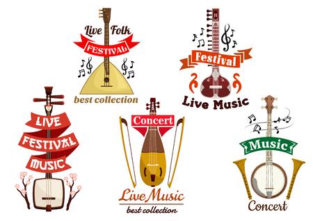 Musical folk and ethnic instruments icons of russian balalaika, japanese biwa, oriental koto, banjo, lute ekin. Vector isolated badges for musical festival, ethnic folk concert