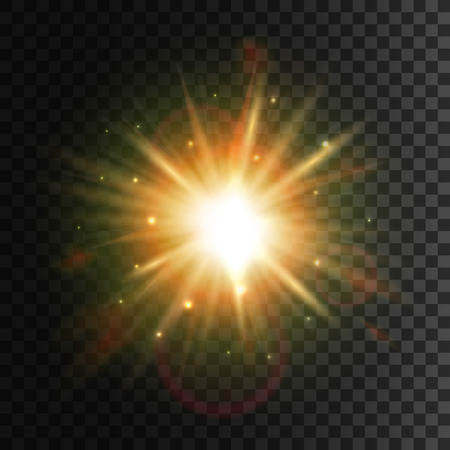 Star light with lens flare effect. Shining sun glow. Sparkling light particles and sun rays on transparent background with halo effect Çizim