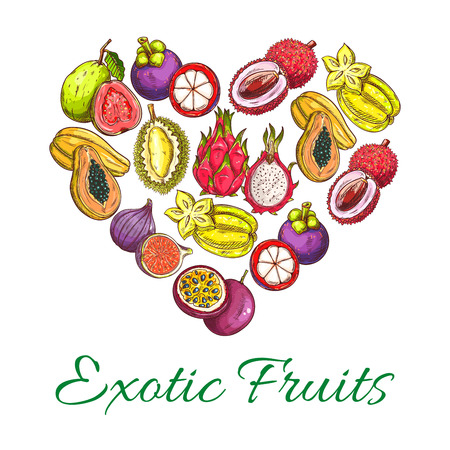 Exotic fruits heart shape poster of orange, papaya, durian, guava, carambola, dragon fruit, lychee, feijoa, passion fruit maracuya, longan, figs, rambutan, mangosteen. Vector tropical whole and half cut sliced juicy exotic tropical fruits icons
