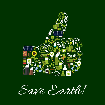 sources: Save Earth ecology poster. Environment protection symbol concept. Thumbs up shape of vector nature conservation and pollution protection icons lamp, gasoline drop, car, water, bicycle, electric green energy sources