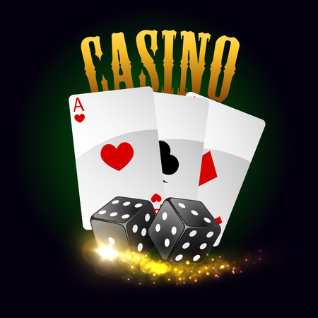 gambler: Casino poker cards with spades, hearts, clubs and gaming dices with lucky number combination. Vector poster with gold glittering light sparkles. Las Vegas casino gaming bets concept with golden letters Illustration