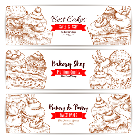 chocolate mousse: Pastry banners set of vector sketch desserts, sweets, fruit cakes, berry cupcakes, chocolate muffin, creamy pie, vanilla mousse for bakery shop, cafe, cafeteria, patisserie menu