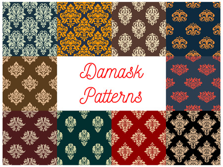 embellishments: Damask patterns set. Vector seamless background of floral ornate motif. Flourish flowery decor tiles set of baroque embellishments and ornamental rococo adornments. Drapery and tracery luxury backdrops
