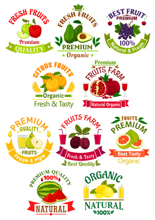 grape fruit: Fruit juice drink isolated icons and badges. Vector juicy apple, guava, grape, orange, pomegranate and pear, plum, pomelo, watermelon, lemon citrus Illustration