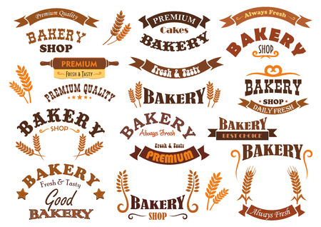 stars and symbols: Bakery shop vector signs, icons and badges. Isolated banner and ribbons with stars and rolling pin. Cereal grain harvest symbols for bakery bread shop, pastry and patisserie desserts