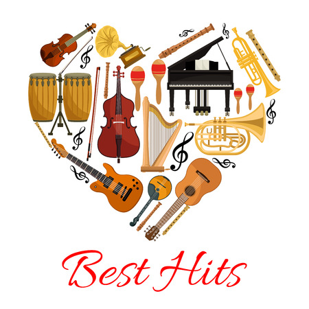 Best hits musical instruments symbol in shape of heart. Vector isolated icons string and wind musical instruments electric and acoustic guitar, saxophone, harp, drum cymbals , violin bow, trumpet, piano, maracas Illustration
