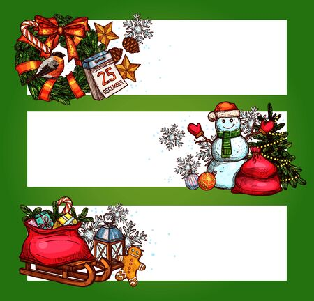 Christmas holidays banner. Sketched xmas tree, gift box, pine wreath with ribbon bow, snowman in santa hat, gingerbread man, snowflake, star, bauble ball, calendar and lantern. New Year theme design