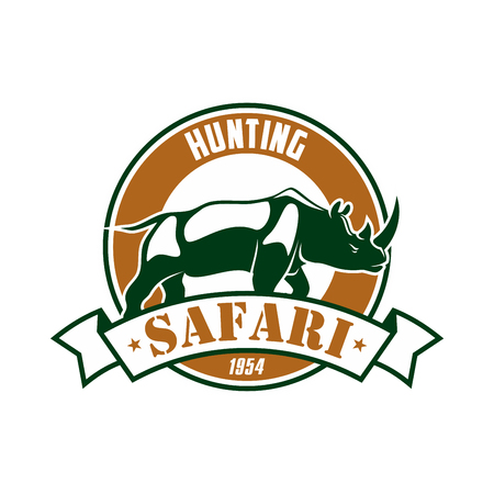 rhino vector: Safari Hunting club emblem. Hunting sport adventure club symbol or icon with rhino. Vector isolated round circle icon or badge with african rhinoceros in savannah and ribbon Illustration