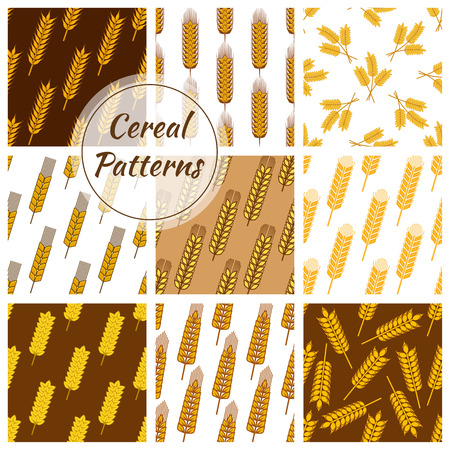 Wheat and rye ears patterns set. Vector seamless background of oat cereal, millet grain, malt grain, spike, barley grain. Backdrops for bakery, pastry, grocery shop, beer bar or pub tiles design