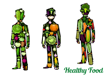greens: Healthy vegetarian, vegan diet food concept symbols. Vector isolated human body icons of vegetables, greens veggies cabbage, pumpkin, cucumber, tomato, potato, asparagus, radish, eggplant, cauliflower, broccoli, corn, pepper