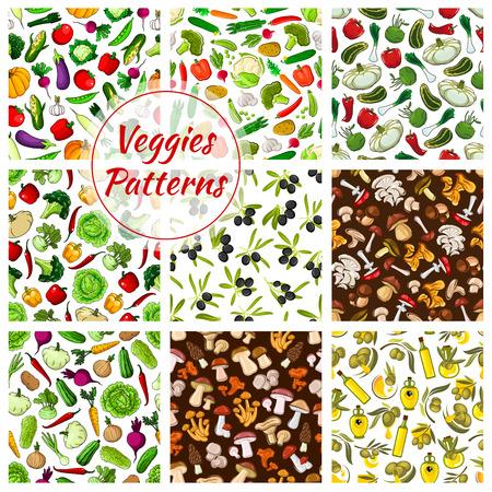 morel: Veggies patterns. Vegetables cabbage, pumpkin, cauliflower, garlic, potato, corn, tomato, pepper, broccoli. Mushrooms champignon, chanterelle, morel, cep, amanita. Vector seamless background