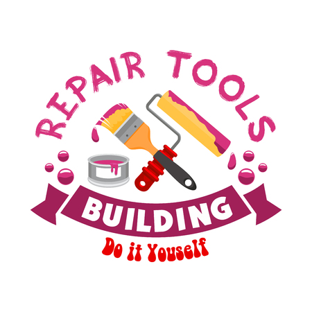 stucco: Repair and home construction sign, icon. Work tools for painting and finishing works. Paintbrush, stucco, whitewash roll. Handyman tool set for home interior decor design works and repair instruments shop or market