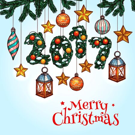 xmas star: Christmas Day greeting card. Xmas tree with hanging golden star, candle lantern, bauble ball and New Year number made up of snowy pine branches. Merry Christmas and New Year sketched poster design