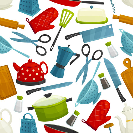 Kitchenware, dishware seamless pattern. Vector background of cooking utensils electric kettle pot, coffee maker with cooking glove, knife and cutting board, saucepan and grater