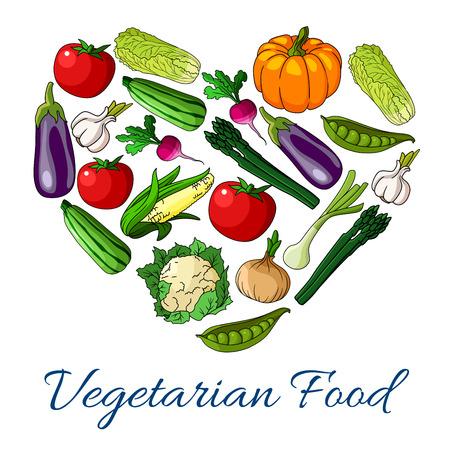 Heart of vegetables. Vector symbol of vegetarian food. Poster with pumpkin, cauliflower and broccoli cabbage, avocado, corn, cucumber and tomato, potato, beet, carrot, radish, kohlrabi, broccoli, pea, pepper