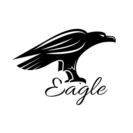 armory: Eagle icon. Noble black hawk looking for prey. Falcon sign. Vector heraldic predatory bird isolated symbol for sport team mascot, military, security or guard emblem for armory shield