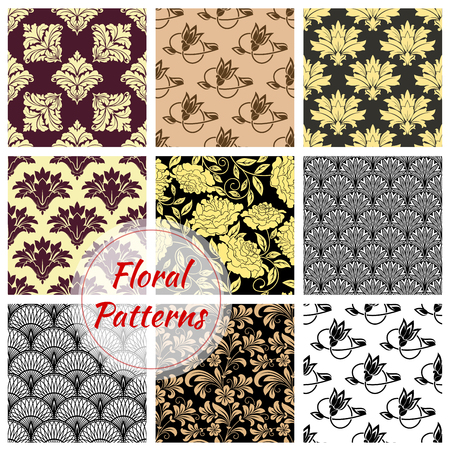 embellishments: Floral background. Flourish flowery decor tiles set of baroque embellishments and ornamental rococo adornments. Drapery and tracery luxury backdrops. Flowery ornate ornament tiles