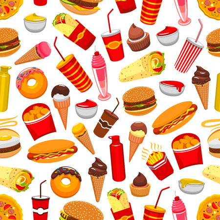fast meal: Fast food background. Seamless pattern with vector flat icons of cheeseburger, pizza, burrito, french fries, nachos chips, hot dog, soda drink, ice cream, popcorn, tacos, donuts, meal snacks, drinks, desserts, milk shake