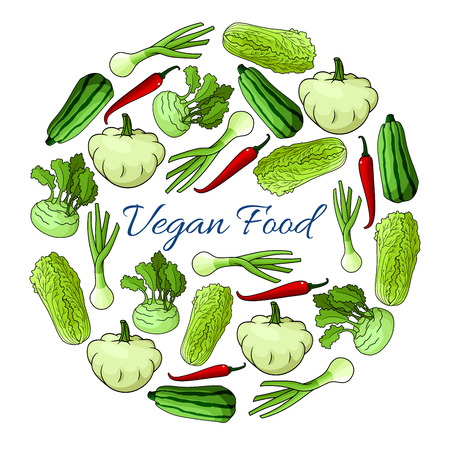 vegetarian cuisine: Veggies poster. Vegan organic vegetables nutrition food. Greens of cabbage, kohlrabi, zucchini, squash, pepper, leek designed in round circle shape for vegetarian cuisine and healthy food cooking