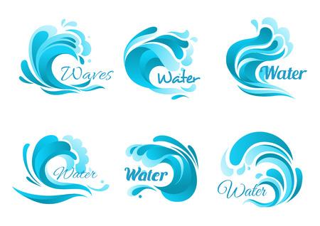 olas de mar: Ondas de los iconos del vector aislados. la onda de agua del océano símbolos azules en forma de salpicaduras de agua, rodillos de mareas, las olas del mar se encrespa tormentosos, rizos de espuma de tormenta, ondulado fluye con vendavales de surf Vectores