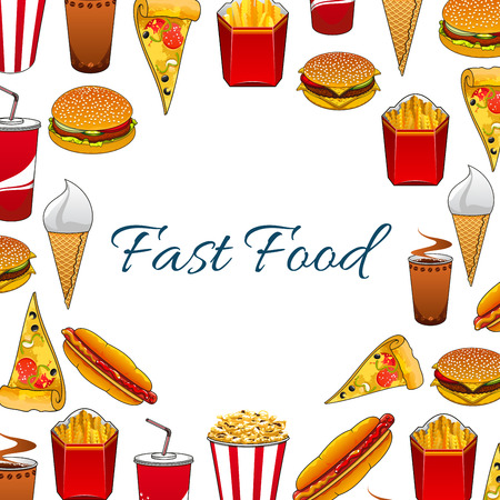 fastfood: Fast food poster with vector sandwich, burger, cheeseburger, pizza slice, french fries, hot dog, soda drink, ice cream, popcorn, donuts for fastfood menu board. Unhealthy fat food nutrition