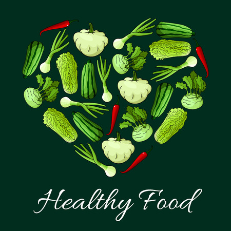 root vegetables: Veggies in shape of heart. Vegetarian healthy food nutrition poster with vegan cuisine greens and fresh raw vegetables of cabbage, zucchini and squash, pepper, leek and kohlrabi root