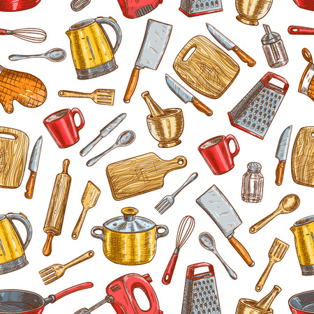 Kitchenware pattern. Vector seamless background of dishware and cooking utensils. Sketch electric up, salt and pepper, spatula and knife, kettle, grater with cooking glove, cutting board, fork, mixer, saucepan and frying pan Stock Illustratie