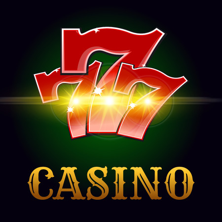 jackpot: Casino poker game vector poster. Successful jackpot lucky number 7 in golden sparkling light and Vegas style letters on green poker game table background for bets or casino roulette advertising