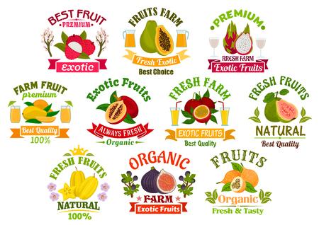 Juice vruchten pictogrammen. Vruchtensap dranken badges met linten. Vector lychee, papaya, tropische dragon fruit en mango, exotische tamarillo met passievrucht maracuya, guave, carambola en vijgen