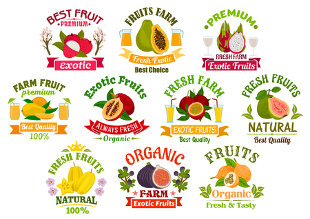 Juice fruits icons. Fruit juice drinks badges with ribbons. Vector lychee, papaya, tropical dragon fruit and mango, exotic tamarillo with passion fruit maracuya, guava, carambola and figs Illustration