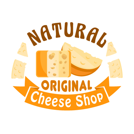cheddar: Cheese shop sign. Vector icon, badge with cheese head and slice. Dairy industry cheese assortment of cheddar, parmesan, gouda and edam, camembert and maasdam