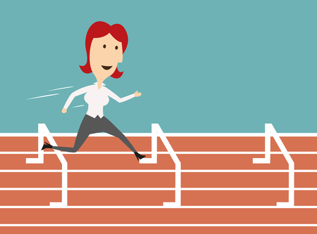 Woman manager run on sport track and jump over barrier. Business metaphor of overcoming obstacles and successful job career achievement. Vector illustration Illustration