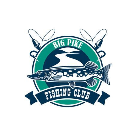 pike: Fishing club isolated icon. Vector fisherman adventure and camping sport sign or badge with circle emblem and big pike fish, fishing rod with floats on river water and ribbon design