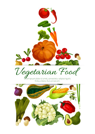 champignon: Vegetables, veggies poster in shape of cutting board. Vector symbol of cauliflower, pumpkin and broccoli cabbage, avocado, corn with champignon, broccoli, pea, pepper, cucumber and tomato, potato, beet, carrot and radish