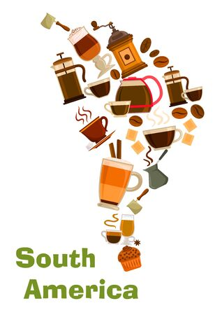 cappuccino: South Africa coffee map symbol. Vector coffee beans in mills, coffee makers, hot cappuccino mugs with chocolate. Coffee drinks of mocha, latte coffee, biscuit dessert Illustration