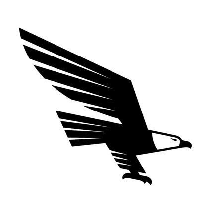 beak vulture: Flying Eagle isolated sign. Vector symbol of black falcon or hawk. Heraldic emblem or icon of predatory bird with spread wings and catching claws for sport team mascot, military, security or guard emblem for armory shield