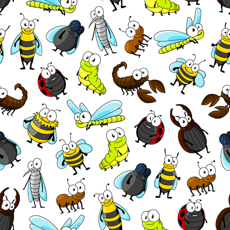 white fly: Cartoon insects and bugs seamless pattern on white background with bee, ladybug, fly, dragonfly, caterpillar, beetle, mosquito, wasp, bumblebee, ant and scorpion characters Illustration