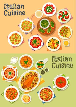 Italian cuisine icon set with pasta salad, caesar, basil pesto, minestrone soup, tomato mozzarella salad, beef carpaccio, baked fish and artichoke, bean, mushroom, tomato soups, spinach egg Ilustração