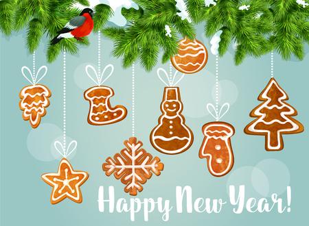 galleta de jengibre: Árbol de pino verde con el cartel de las galletas de jengibre saludo. rama de pino cubierto de nieve con camachuelo y colgando del copo de nieve de galletas de jengibre, estrella, árbol, muñeco de nieve y el calcetín, chuchería bola y el guante. Diseño de tarjeta de la Feliz Año Nuevo Vectores