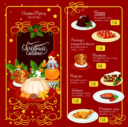 adorned: Christmas festive menu template design. British flaming pudding, baked fish, sausages in bacon, sweet bread, italian nut dessert, adorned by holly berry, pine tree, star. Restaurant menu design Illustration
