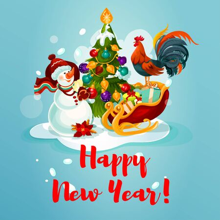 holiday gifts: New Ywar greeting card with pine tree and bauble, lights and snow, gift box in santas sleigh, snowman with bag of gifts and rooster. Festive poster for winter holiday decoration