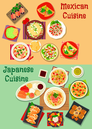 sashimi: Mexican and japanese cuisine icon with chorizo salad taco, sashimi, seafood rice, guacamole, nacho, beef and salmon ceviche tortilla, pork noodle, seafood, meat, vegetable salads, egg roll, dessert