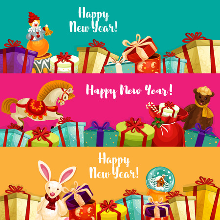 year of horse: New Year gifts and toy banners set. Boxes with bow and ribbon, santa bag with candy cane, plush bear and rabbit, snow globe, rocking horse and clown with bell. Xmas and New Year theme design