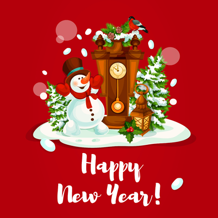 evergreen tree: New Year holiday greeting card. Snowman with snowy pine tree, candle lantern, holly berry and clock, adorned by fir branches with bullfinch. Festive poster, postcard design