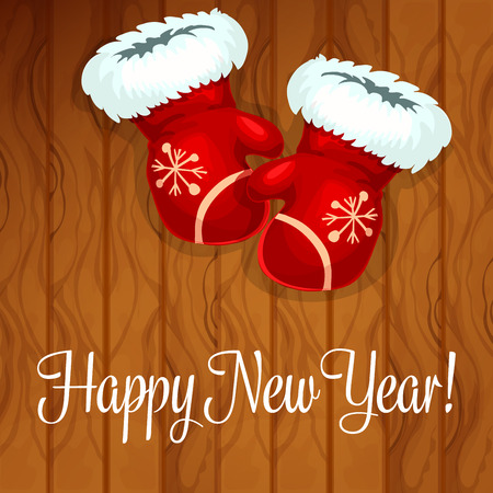 adorned: Happy New Year greeting card with santa gloves on wooden background. Red mittens, adorned by fur trimming and snowflake embroidery for winter festive poster design